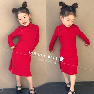 小女孩复古旗袍儿童旗袍女童中国风旗袍长袖 秋冬走秀亲子旗袍红色