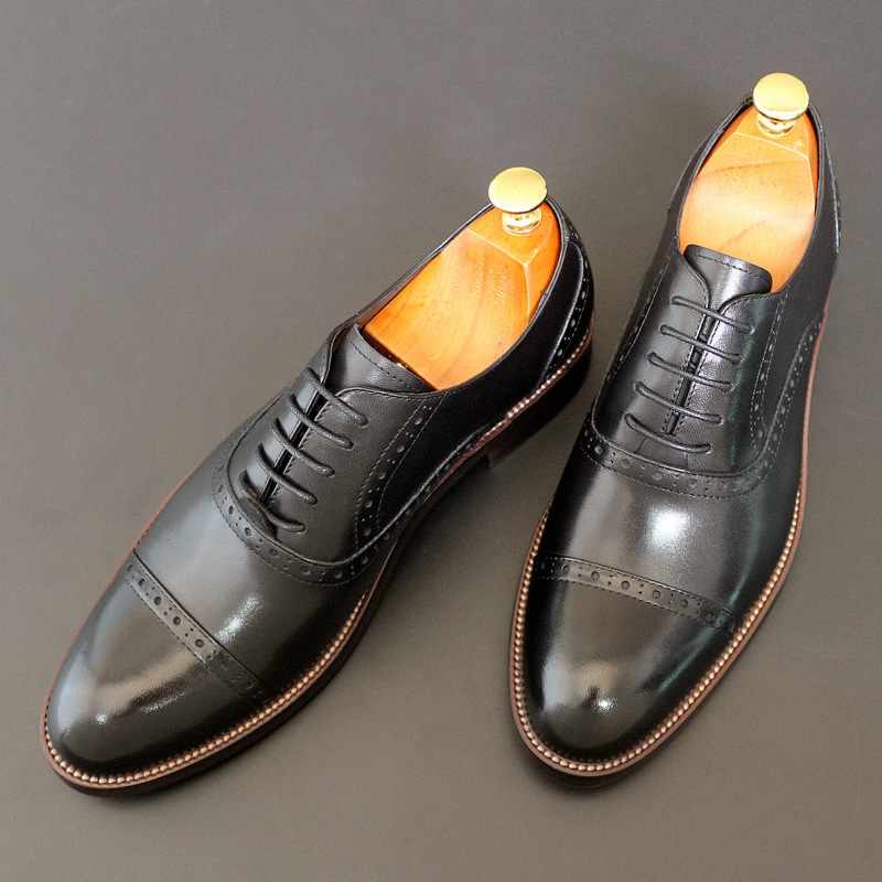 Mens business suit leather shoes round head mens shoes Oxford shoes handmade Goodyear