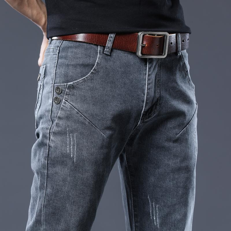 Spring stretch jeans spring and autumn mens slim little feet Korean fashion pants mens wear versatile pants mens wear