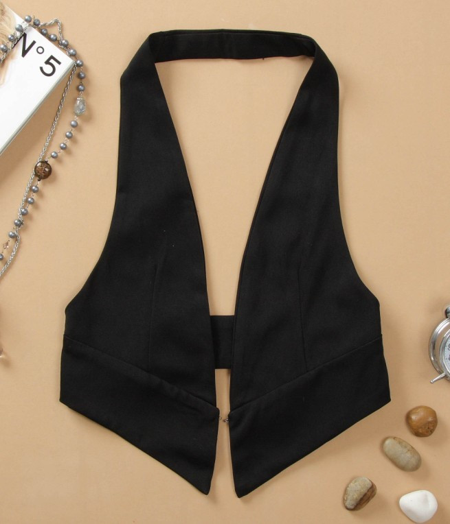 Special price spring and summer womens Vest 2018 new small vest versatile slim Suit Black hanging neck large waistcoat