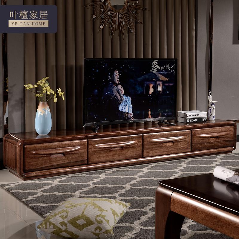 全体の木のテレビの箱の暗い胡桃の木の客間の映画とテレビの箱は簡単に現代中国式の客間の家具の2.4メートルの戸棚を予約します。