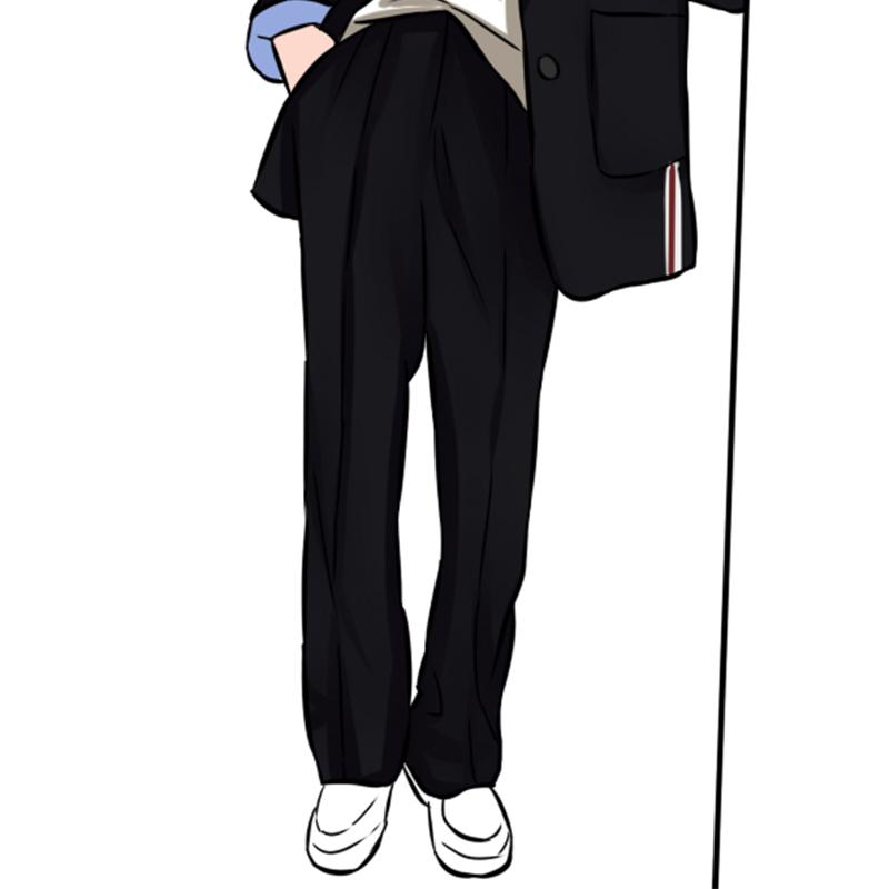 文室长 1米八大长腿来L 小个子黑色直筒休闲裤女高腰显高显瘦长裤