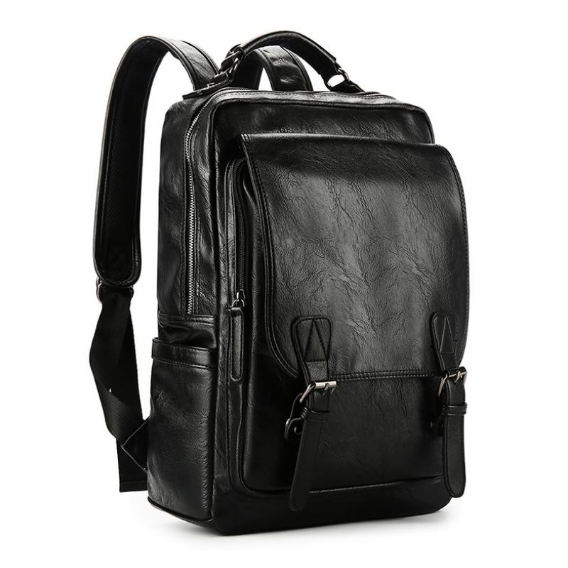 男式双肩包潮牌休闲皮质男包大容量13英寸电脑背包时尚大学生书包