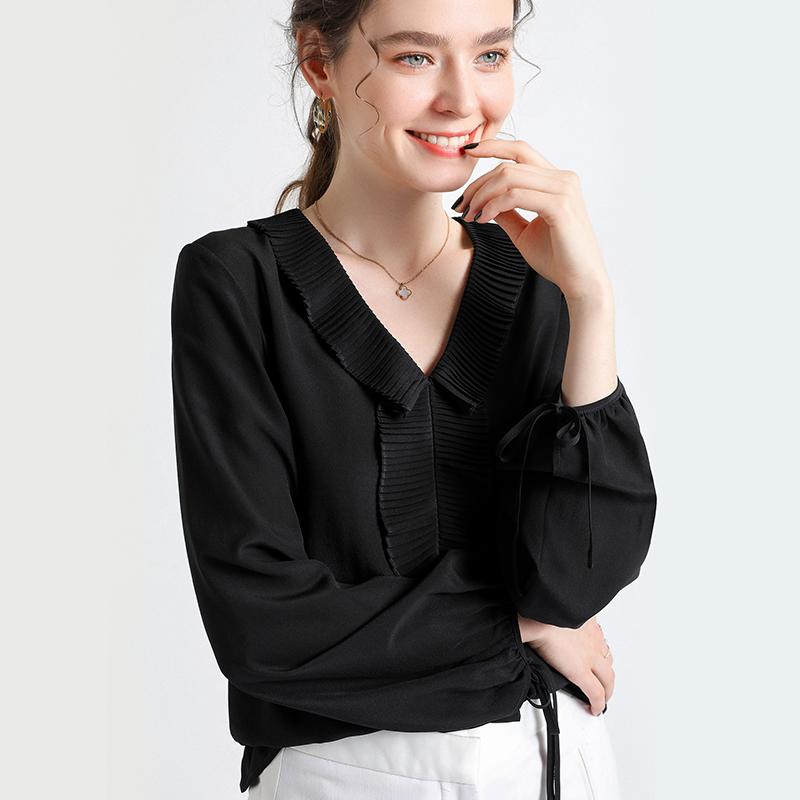 怡源基2020新款双绉真丝衬衫女时尚设计感桑蚕丝衬衣纯色长袖上衣