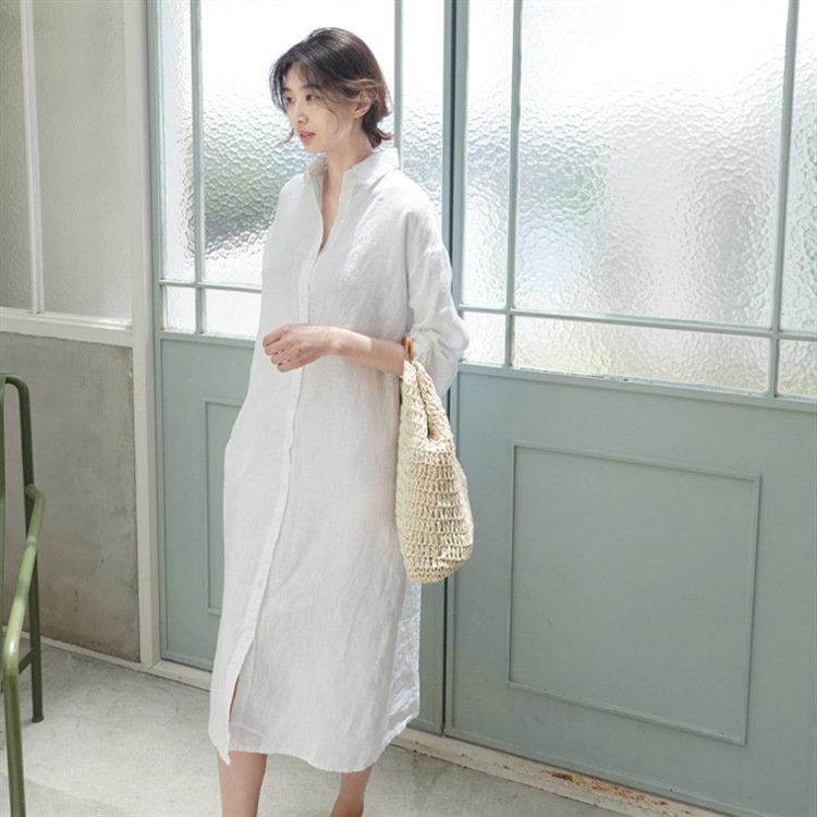 2020新款网纱仙气年长袖衬衣连衣裙女长款宽松显瘦纯色打底衬衫裙