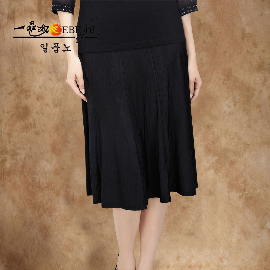 一品奴中老年女装夏季加肥加大码胖妈妈装黑色冰丝松紧腰半身裙子