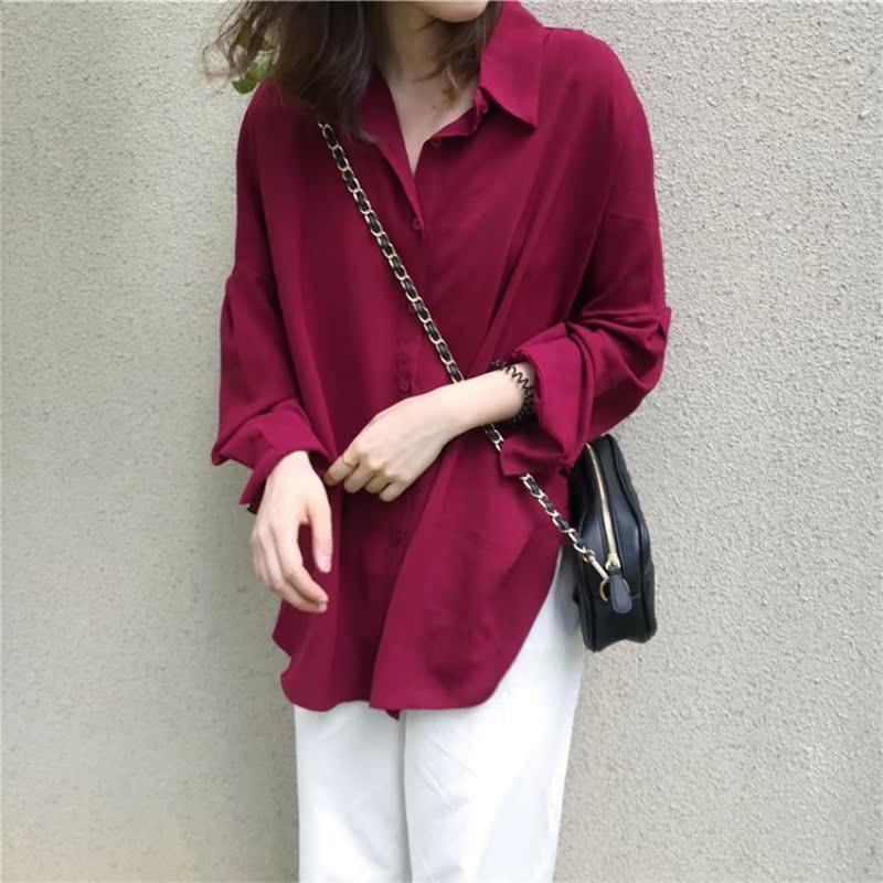 衬衫女春秋新款韩版蝙蝠袖宽松休闲装中长款舒适雪纺显白酒红衬衣