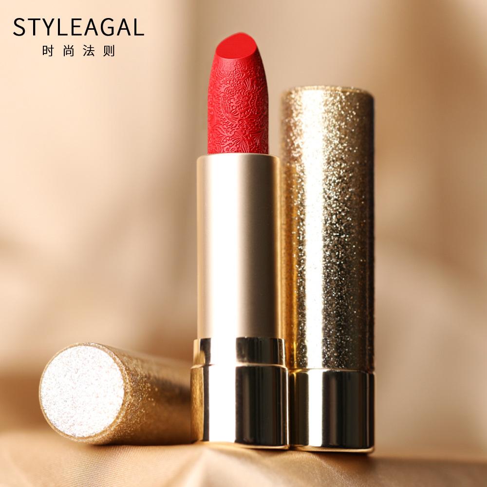 限2000张券时尚法则雕花口红西子抖音同款小金钻条唇釉唇膏唇彩品牌