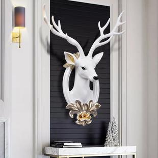 招财鹿头壁挂北欧风格 饰品创意客厅墙面鹿角挂件 沙发电视背景墙装