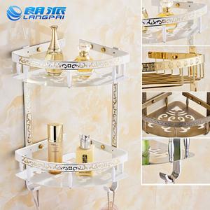 朗派雕花三角篮 欧式浴室卫生间置物架卫浴双层角架三角架网篮