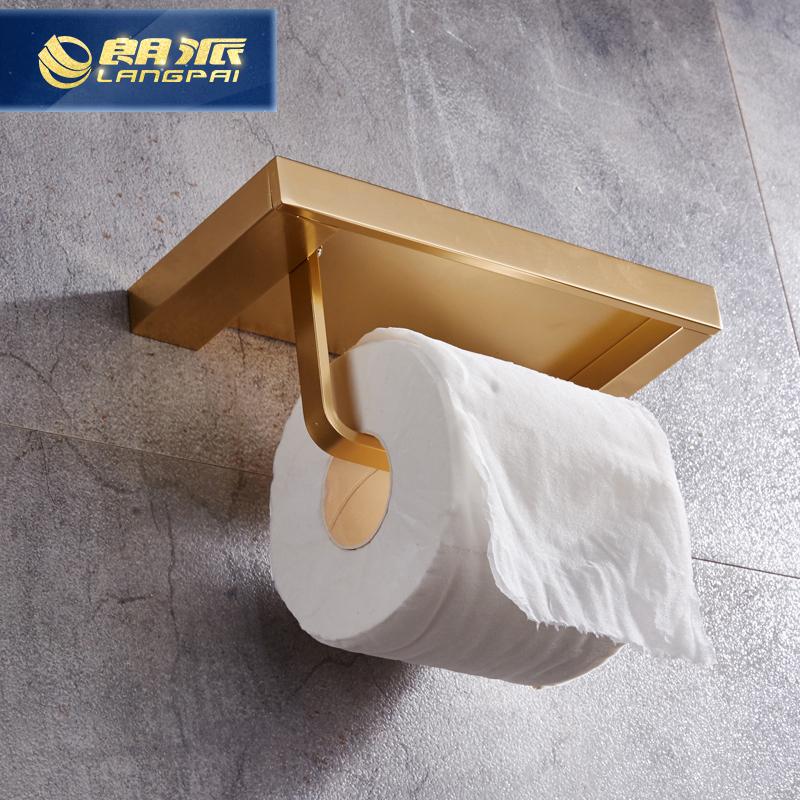 仿古太空鋁廁所金色紙巾架衛生間卷紙廁紙架浴室手紙架歐式手機架