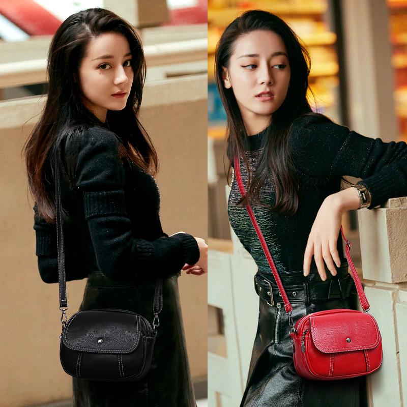 Mini bag womens 2020 new fashion retro simple versatile small round bag single shoulder slung soft leather bag