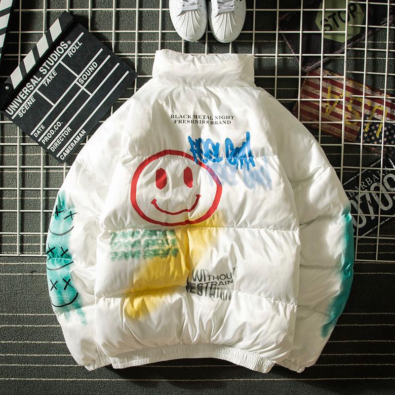 欧美街头秋冬国潮笑脸涂鸦棉衣男港风潮牌保暖宽松立领面包服外套