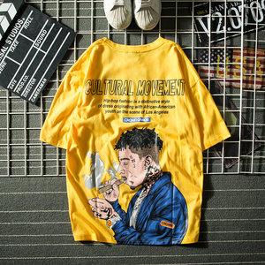欧美潮牌国潮头像T恤宽松嘻哈hiphop短袖男个性夏装衣服ins半袖衫