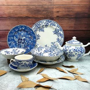 外貿原單英國JBS青花西餐具湯碗糖罐壺牛排平盤子套裝德文郡陶瓷