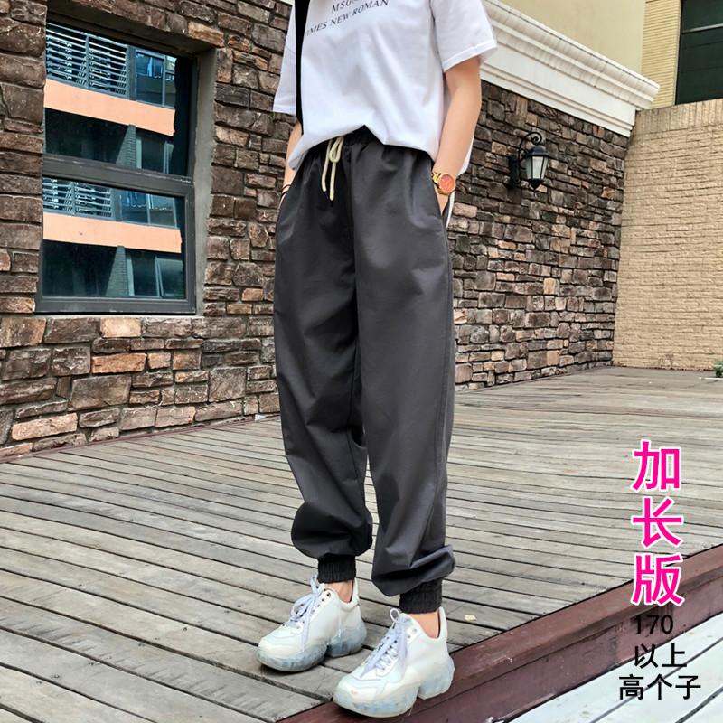 2019高级灰法式加长工装裤女宽松bf运动休闲裤高腰显瘦束脚哈伦裤(用1元券)