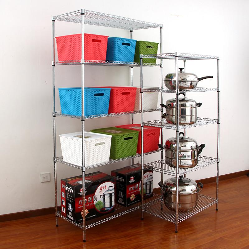 厨房用品置物架五层不锈钢色储物架微波炉架收纳架5层架锅架包邮 - 封面