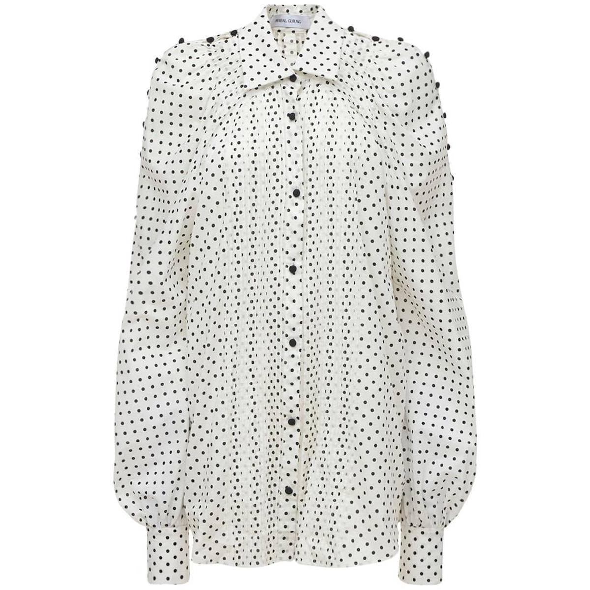 代购Prabal Gurung/普拉巴高隆 斑点府绸衬衫2021新款奢侈品衬衣