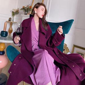 REVE高定 臻藏黑加仑紫系带双面羊驼绒大衣女中长款冬季毛呢外套