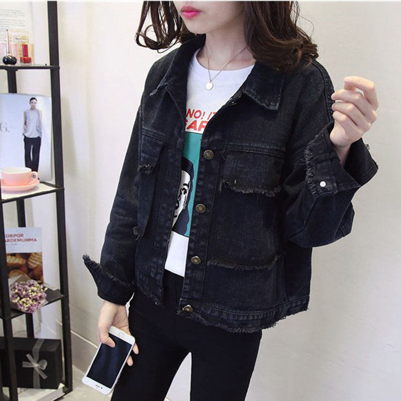 Black Denim coat womens loose 2021 spring and Autumn New Korean student style retro BF denim jacket