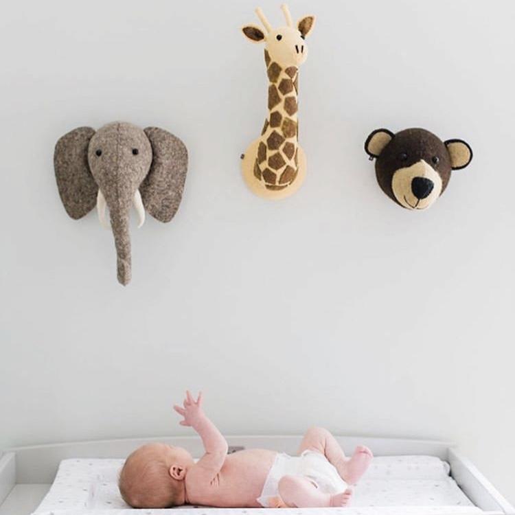ins北欧风家居饰品儿童房鹿头挂件背景墙立体动物头装饰大象壁挂