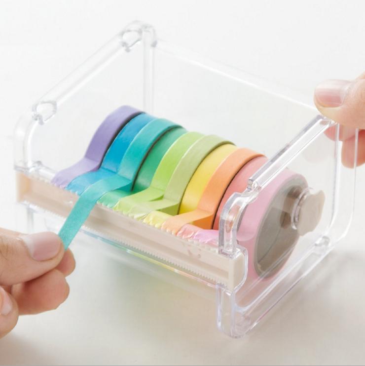 Сделано в китае в коробку спокойный бумага лента творческий резка устройство офис канцтовары упаковка рука проводка прозрачный пластиковый опорные в коробку