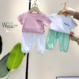 婴幼儿夏季短袖长裤套装夏装童装男女宝宝小童1岁3婴儿防纹裤衣服