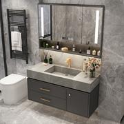 岩板一体台盆浴室柜组合北欧轻奢智能镜柜洗手池卫生间简约洗漱台