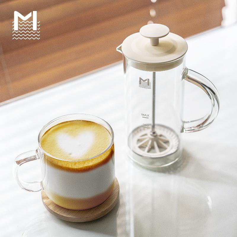 MAVO奶泡机 打奶泡器手动 手打奶泡壶 咖啡牛奶打泡器 玻璃奶泡杯