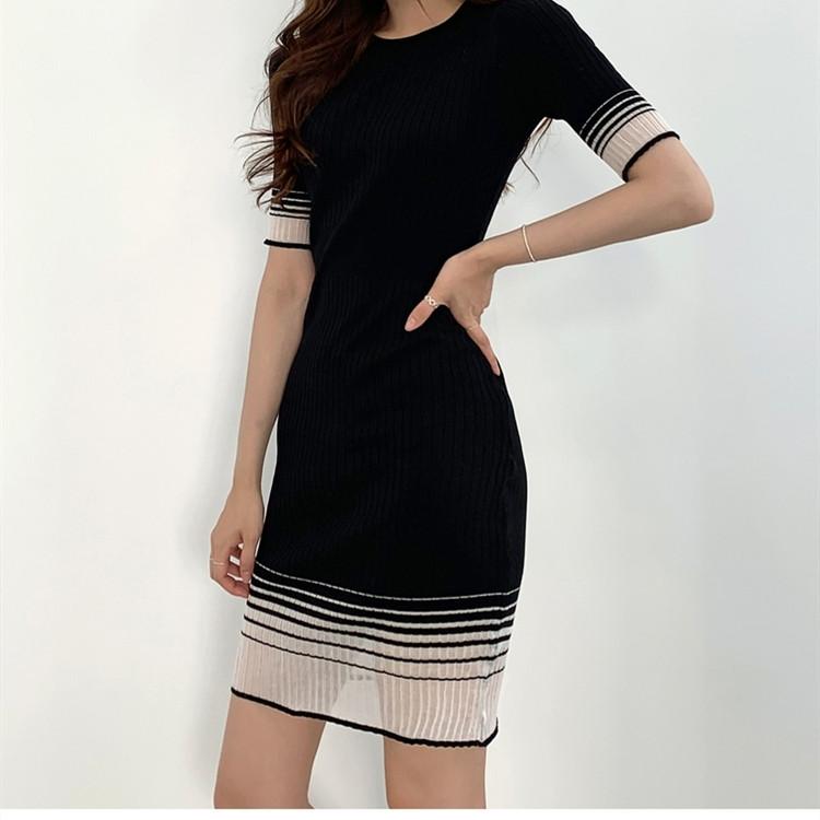 歐美夏秋季女裝新款優雅圓領長袖修身顯瘦打底拼接連衣裙