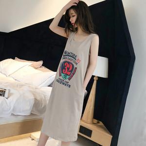 夏季性感纯棉女士睡衣无袖吊带卡通可爱中长睡裙全棉可外穿家居服
