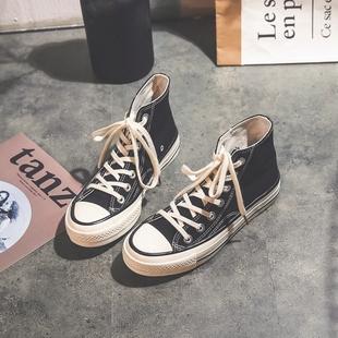 潮鞋高帮帆布鞋女2019新款韩版ulzzang百搭黑色复古港味布鞋板鞋
