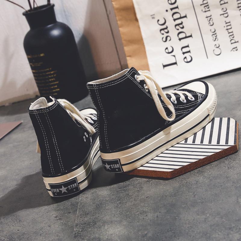 高帮帆布鞋女学生韩版原宿ulzzang2018新款百搭ins超火港风板鞋潮