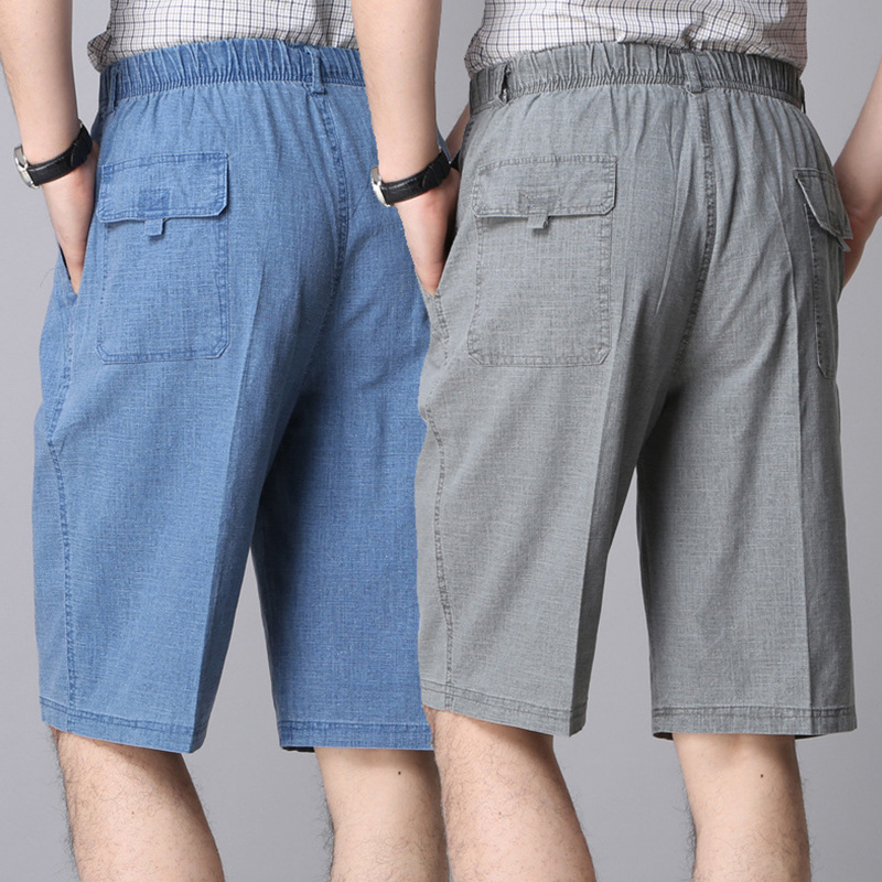 Spring and summer middle-aged and elderly middle-aged dad mens mid long short pants to knee casual 5 / 5 pants loose