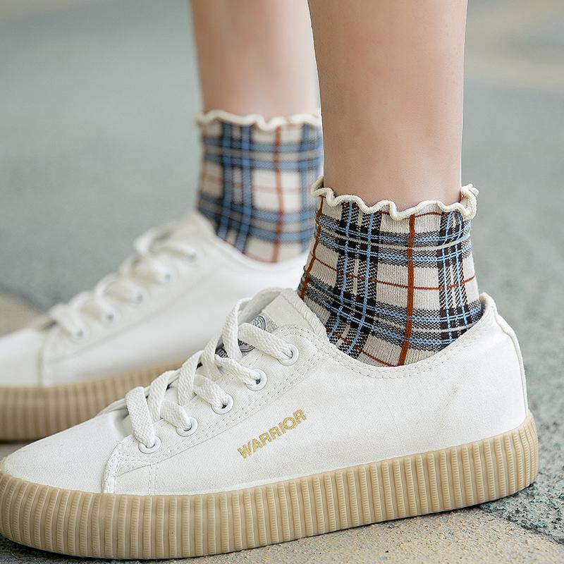 袜子女小方格子春秋短袜可爱木耳边韩国ins潮袜复古英伦风中筒袜
