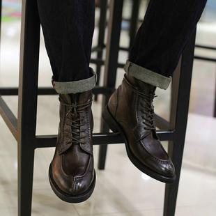 西装 英伦复古真皮短靴古着潮流简约型男马丁靴休闲高帮皮鞋 暴徒