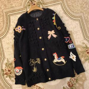 秋冬明星同款重工趣味卡通手工钩花刺绣中长款毛衣外套加厚开衫女