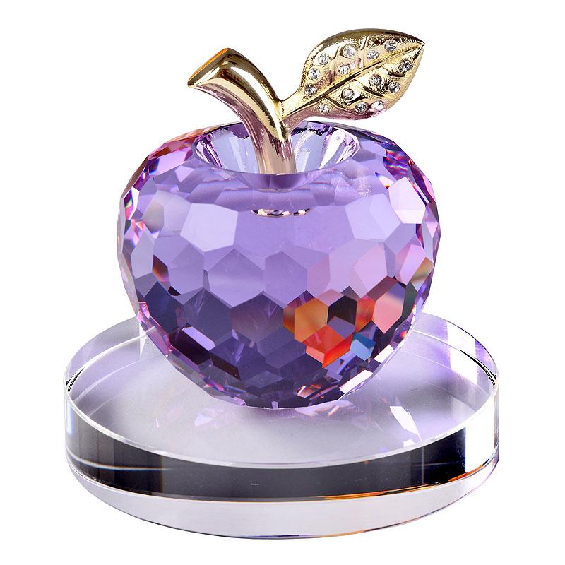 水晶蘋果汽車擺件 汽車飾品 車內裝飾用品 車上儀表台汽車用品