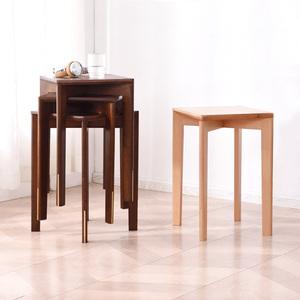 家逸小凳子家用实木高板凳方凳简约凳高凳木凳子化妆凳圆凳餐桌凳