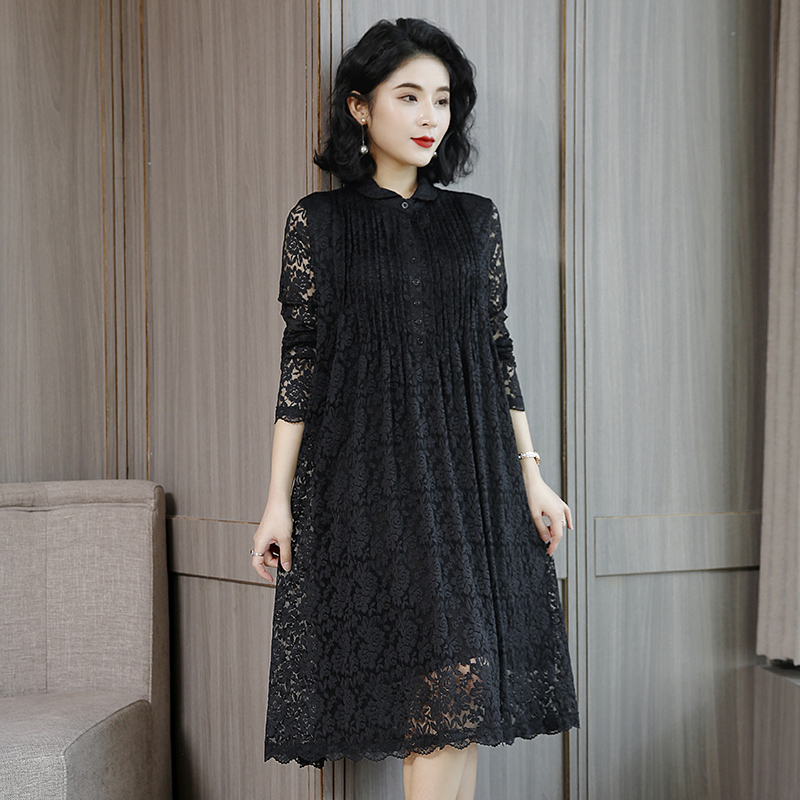 Spring dress womens new lace dress womens spring and autumn French retro skirt knee length skirt
