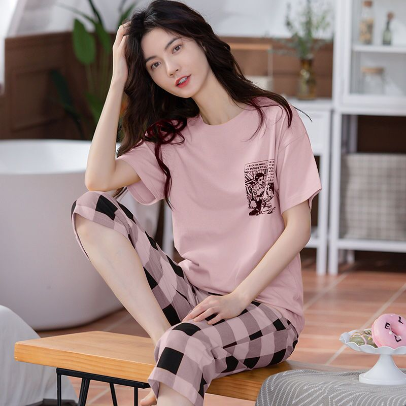 All COTTON PAJAMA womens 100% cotton spring and summer Korean version sweet and loose can wear large leisure home clothes suit