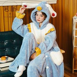 珊瑚绒睡衣女春秋冬季款甜美可爱加厚法兰绒学生长睡袍套装家居服图片