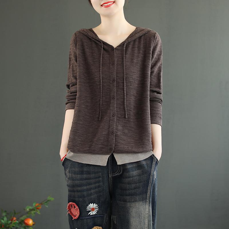 儒也原创文艺秋季连帽长袖针织衫假两件纯色开衫毛衣外套打底衫女