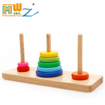 Wooden Meatballs Hanotta Teaching aids baby children early lessons intelligent toys rainbow Stacked music ring pairing building blocks