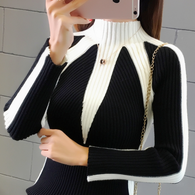 Autumn and winter short high neck sweater for women color matching and slim fitting long sleeve tight bottomed T-shirt with Pullover for warmth and thickening