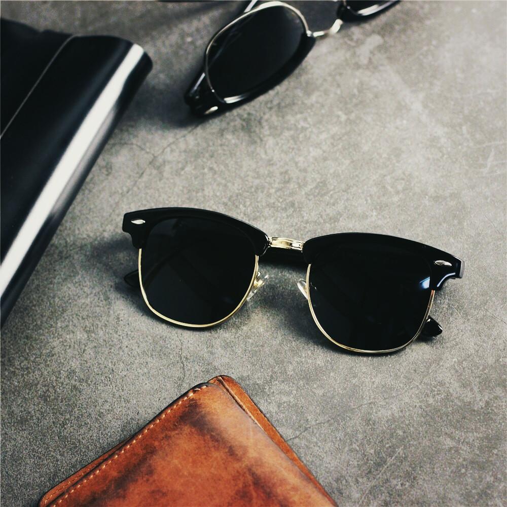 潮人欧美半框偏光太阳镜男士近视墨镜女驾驶镜开车彩色太阳眼镜潮