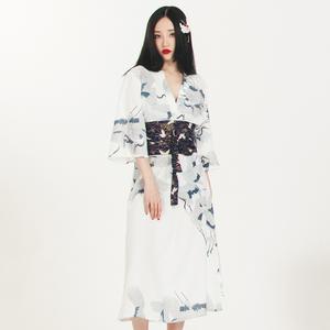 领3元券购买red家自制日式和风v领直筒连衣裙