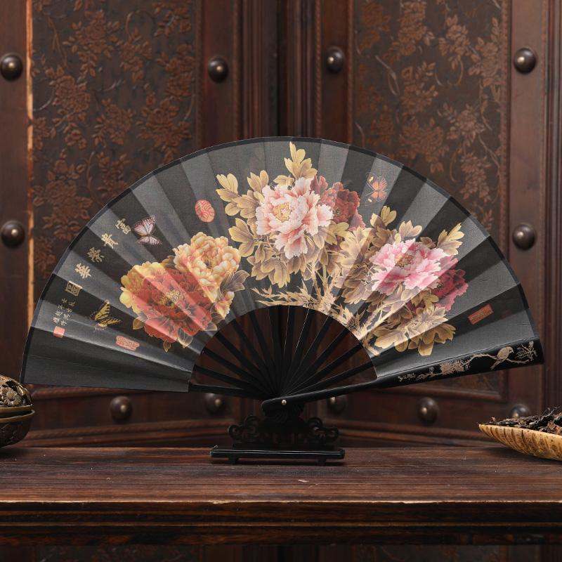 折扇8寸绢布雕刻丝绸印刷古典工艺男女礼品扇子古色古韵中国风 Изображение 1
