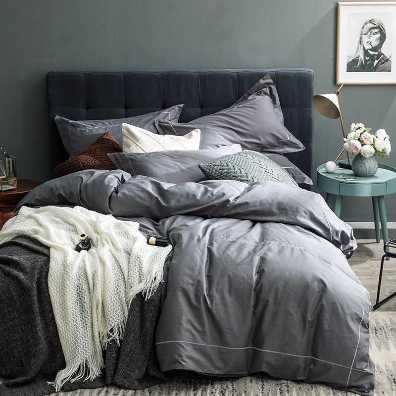 春夏宜家美式纯棉四件套刺绣简约纯色男女生全棉被套床单1.8m床品