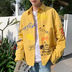 2019春新款男宽松全身印大码长袖衬衫港风 黄色CS102-P58不低于78